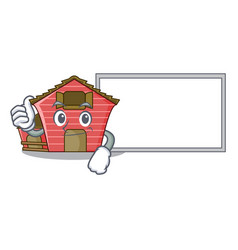 Thumbs up with board character red barn building vector