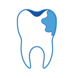 Tooth with root and caries by side in blue vector