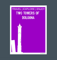 Two towers of bologna italy monument landmark vector