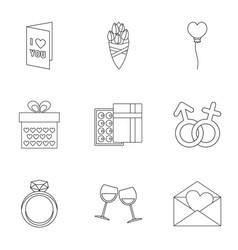 Valentine day equipment icons set outline style vector