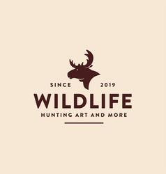 vintage retro hipster moose logo icon template vector image