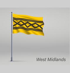Waving flag west midlands - county england vector