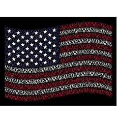 waving united states flag stylization of cow head vector image