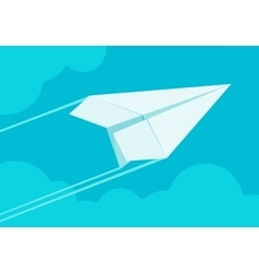 White paper airplane flying in the sky vector image