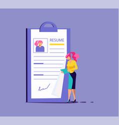 Woman select a resume vector