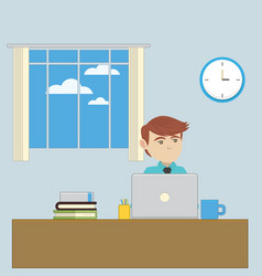 an employee in the office workplace vector image vector image