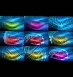 set of neon circular outline rings backgrounds vector image