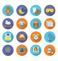 time to sleep icons in a flat style vector image vector image