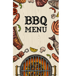 Barbecue grill top view with charcoal mushroom vector