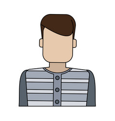 color graphic faceless man prisoner with uniform vector image