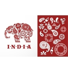 India - parsley patterned elephant Indian icon vector image vector image