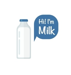 Milk bottle isolated on white vector image vector image