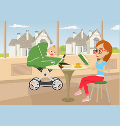 Mother reading book with baby in stroller vector