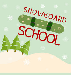 snowboard school logo template vector image