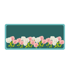 colorful rectangular frame with roses garden vector image vector image