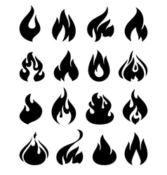 Fire flames set icons vector image vector image