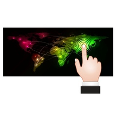 hand pressing a map point vector image