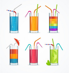 realistic cocktail glass template drink set vector image