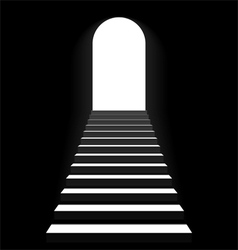 Staircase to arch door vector image vector image
