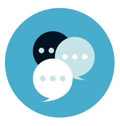 chat bubbles icon on round blue background vector image vector image