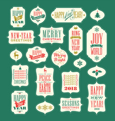 christmas and 2018 new year vintage designs vector image