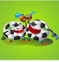 Football Cartoon on green background vector image vector image