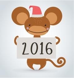 New year monkey ape wild cartoon animal holding vector image