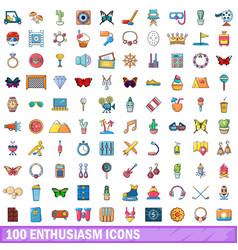 100 enthusiasm icons set cartoon style vector