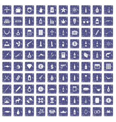 100 smuggling goods icons set grunge sapphire vector image