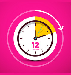 12 twelve minutes analog circle clock on pink vector