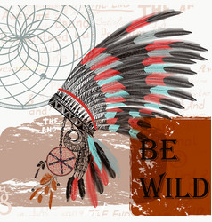 17x9ethnic fashion with indian head dress boho vector image