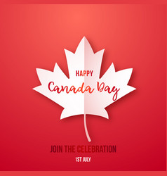 1th july happy canada day red greeting banner vector image
