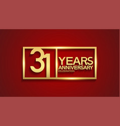 31 years anniversary logotype with golden color vector