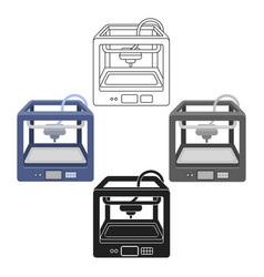 3d printer in cartoonblack style isolated on vector