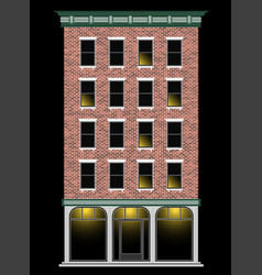 A classic american brick multi-storey house at vector