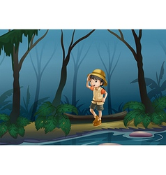 A girl in the middle of the forest near the river vector