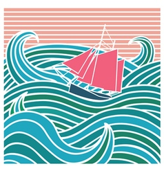 Abstract ship at sea vector