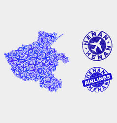 aerial mosaic henan province map and grunge vector image