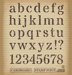 Alphabet old stamp style on cardboard background vector