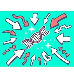 arrows point to icon of dna molecule chai vector image