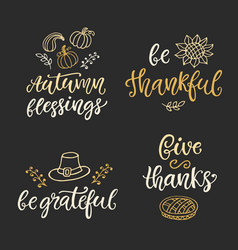 Autumn and thanksgiving day hand written lettering vector
