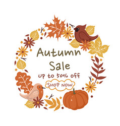 autumn sale a wreath leaves on a white vector image