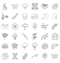 bacteria icons set outline style vector image