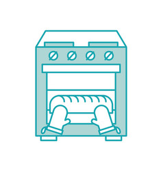 Baking bread in the oven kitchen homework vector