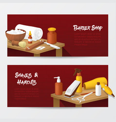Barber shop banners with mens fashion tools vector