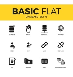 Basic set of Database icons vector
