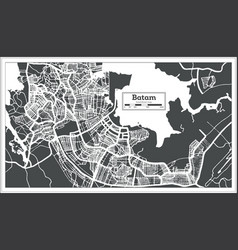 Batam indonesia city map in retro style outline vector