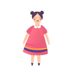 Beautiful doll in red dress flat vector