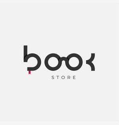 book logo with glasses on white background vector image