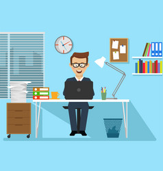 businessman sitting at office desk with laptop vector image